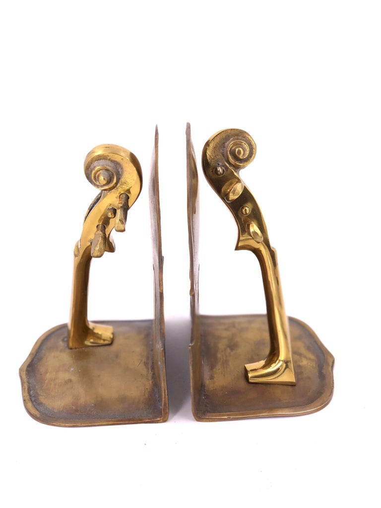 American Classical Solid Pair of Polished Patinated Brass Cello Bookends For Sale