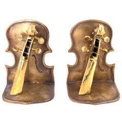 Solid Pair of Polished Patinated Brass Cello Bookends
