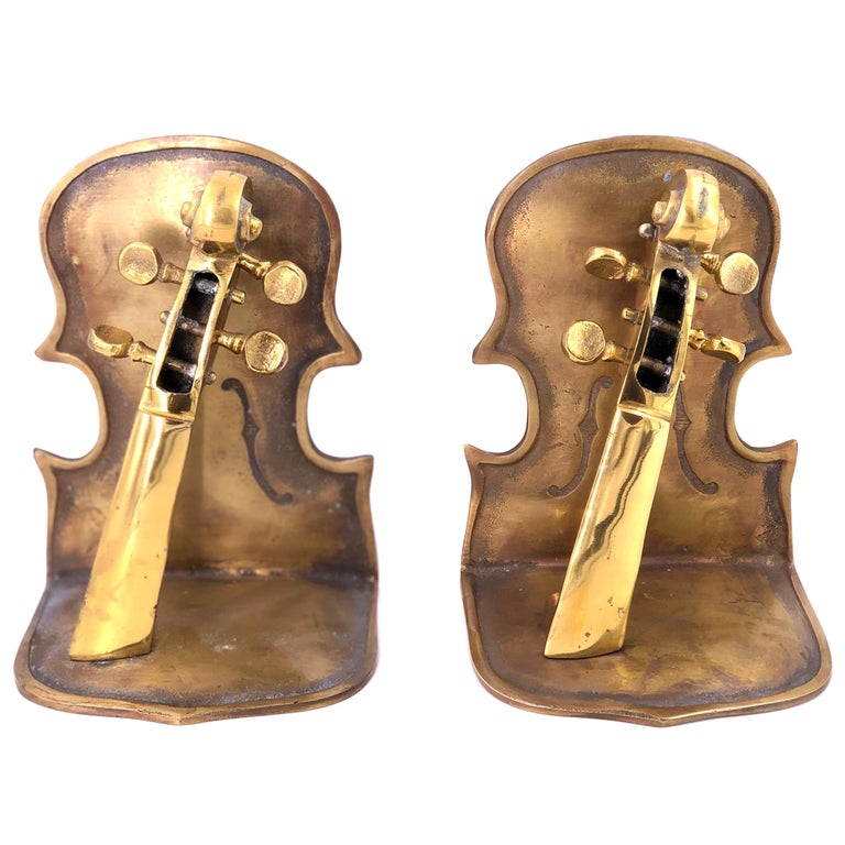 Solid Pair of Polished Patinated Brass Cello Bookends For Sale