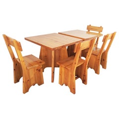 Solid Pine Brutalist Chairs and Tables Set, French Alp, 1960s