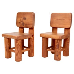 Solid Pine Chairs, Unique Swedish Work, 1950