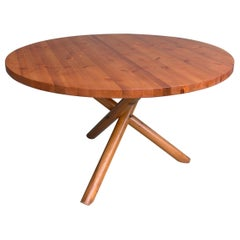 Solid Pine Cross Based Round Table in Style of Pierre Chapo, France 1960s