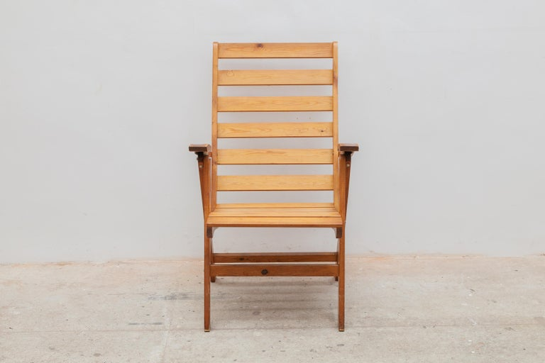 Belgian Solid Pine Slat Folding Outdoor Chairs, 1950s For Sale