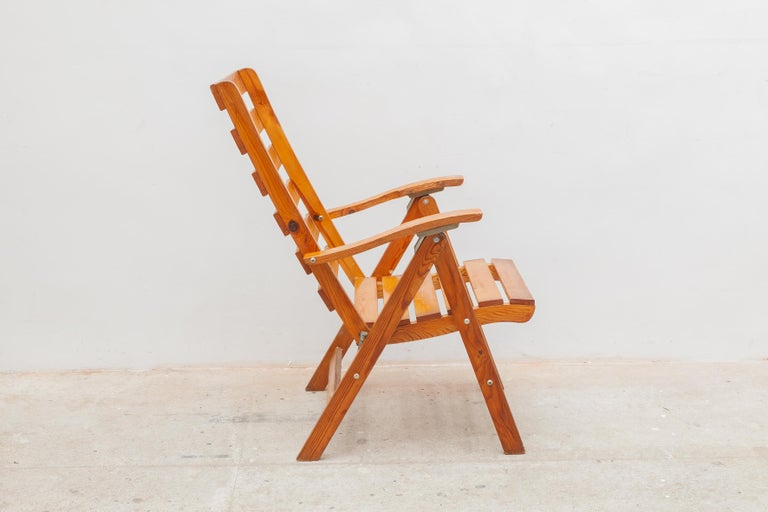 Mid-20th Century Solid Pine Slat Folding Outdoor Chairs, 1950s For Sale