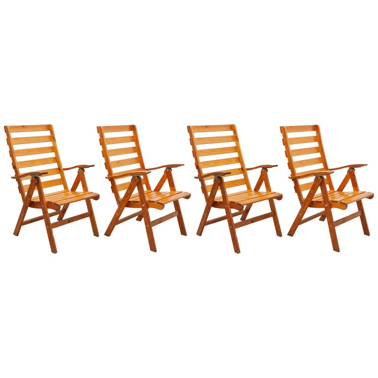 Solid Pine Slat Folding Outdoor Chairs, 1950s For Sale