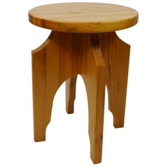 Solid Pine Stool / Side Table, Sweden, 1970s
