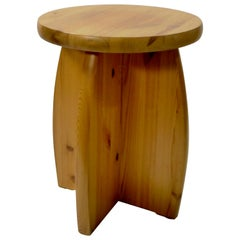 Solid Pine Stool, Sweden, 1970s