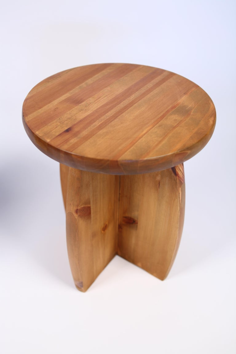 Stained Solid Pine Stools, Sweden, 1950s For Sale