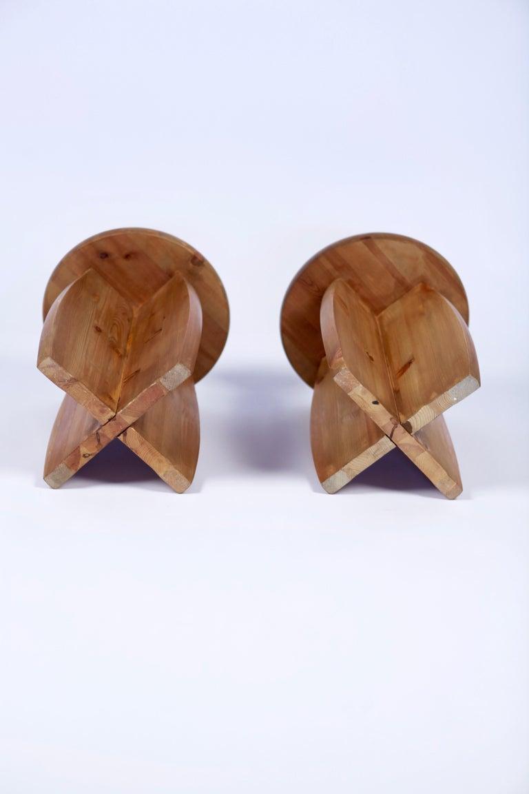 Solid Pine Stools, Sweden, 1950s For Sale 2