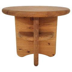 Solid Pinewood Side Table, Attrb. Rainer Daumiller, Denmark, 1970's