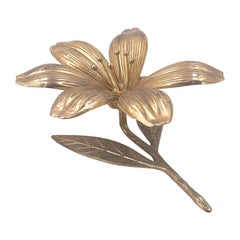 Solid Polished Brass Lotus Flower Ashtray Sculpture