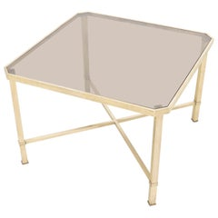Solid Polished Brass Square X Base Side Coffee Table with Smoked Glass top