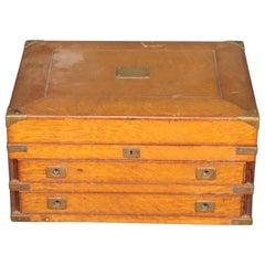 Solid Quarter Sawn Oak Campaign Style Silverware Box, circa 1900