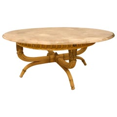 Solid Rock Crystal Circular Table Top Coffee, Dining or Centre Table