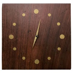Solid Rosewood and Brass Wall Clock Mid-Century Modern Period