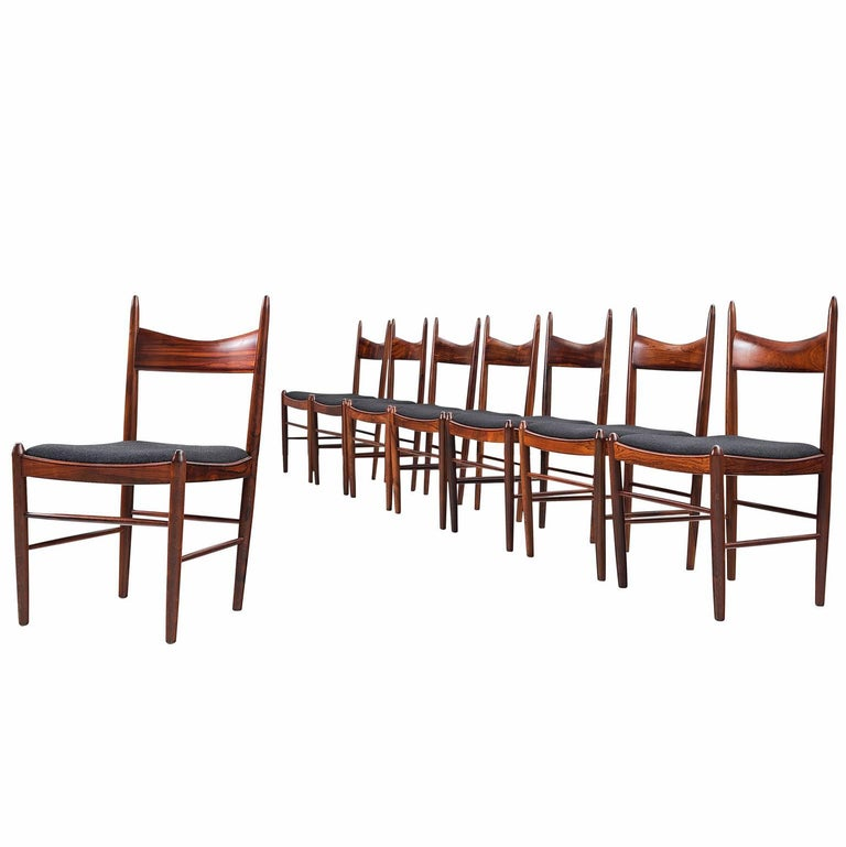 Solid Rosewood Dining Chairs, Denmark, circa 1950