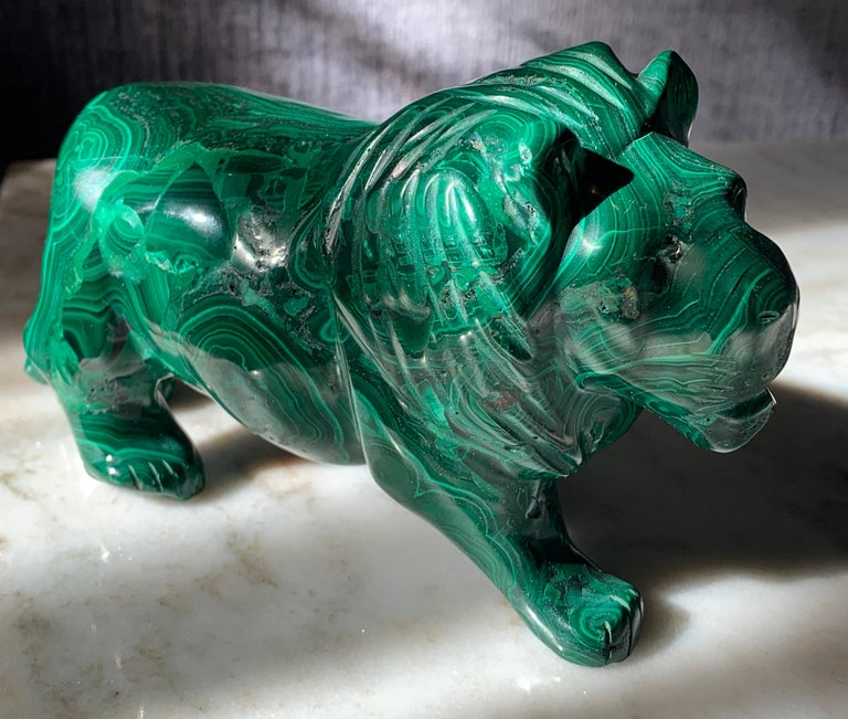 Mid-Century Modern Solid Russian Malachite Lion For Sale