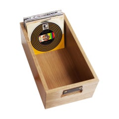 "Solid Rustic Oak Dovetail Record Crate for 7""/45 Rpm Records, in Stock"