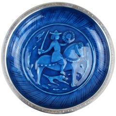 Solid Silver Blue Enamel Dish, Silver by David Andersen, Norway, 1944