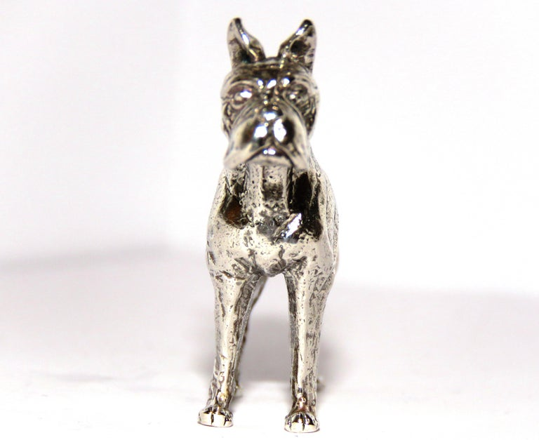 Solid Silver Dog Figurine Vintage, 1970s For Sale 1