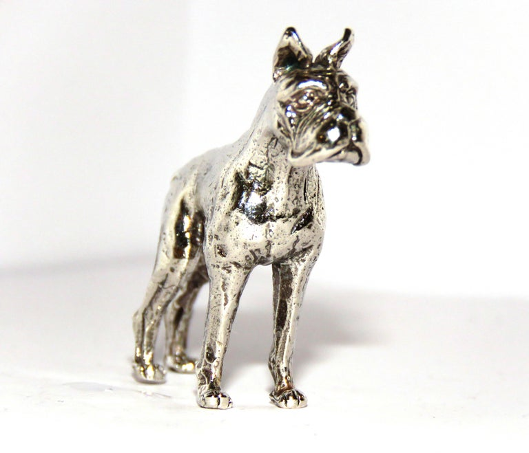 Solid Silver Dog Figurine Vintage, 1970s In Excellent Condition For Sale In Milano, IT