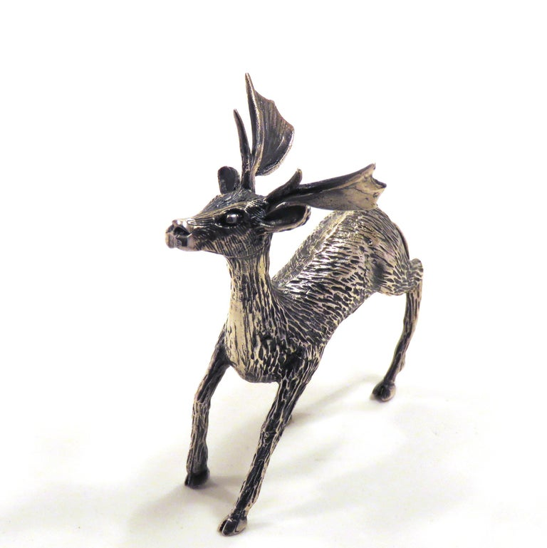Solid Silver Fallow Deer Figurine Vintage, 1970s In Excellent Condition For Sale In Milano, IT
