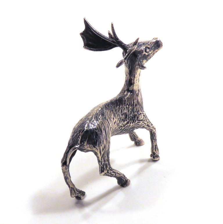Women's or Men's Solid Silver Fallow Deer Figurine Vintage, 1970s For Sale