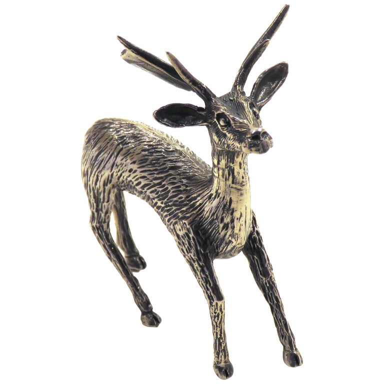 Solid Silver Fallow Deer Figurine Vintage, 1970s For Sale