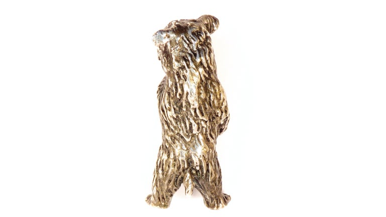 Solid Silver Italian Bear Figurine Vintage, 1970s In Excellent Condition For Sale In Milano, IT