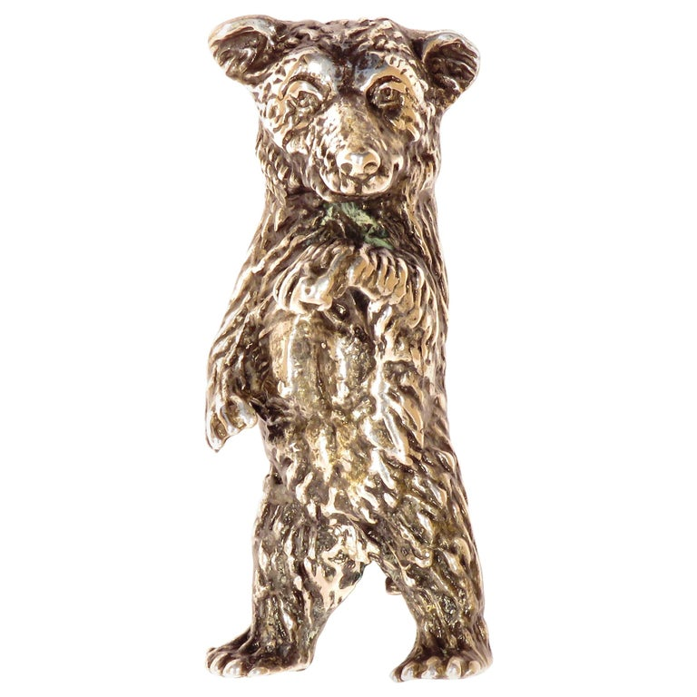 Solid Silver Italian Bear Figurine Vintage, 1970s For Sale