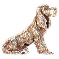 Solid Silver Italian Cocker Spaniel Figurine Vintage, 1970s