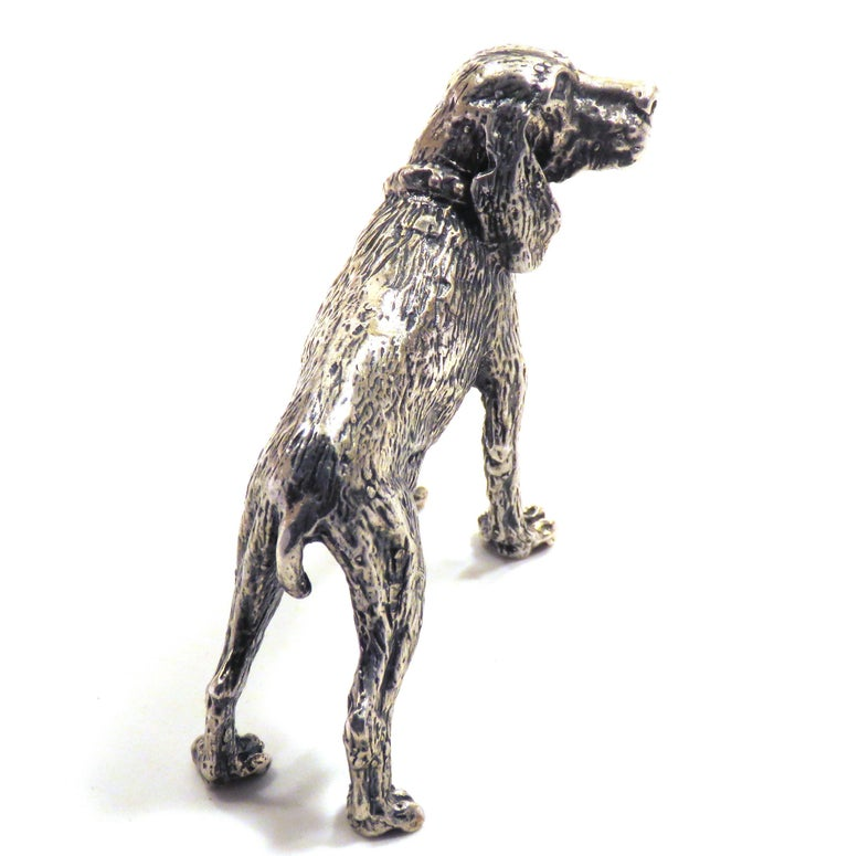 Solid silver Bracco Italiano (Italian Pointer) in very good vintage condition. Dimensions: Height 55 mm / 2.16 inches - Length 80 mm / 3.14 inches - Weight 85 grams. It  is stamped with the Silver Italian Mark 800 - 49AR LOSA DI CIPRIANI CLAUDIO -