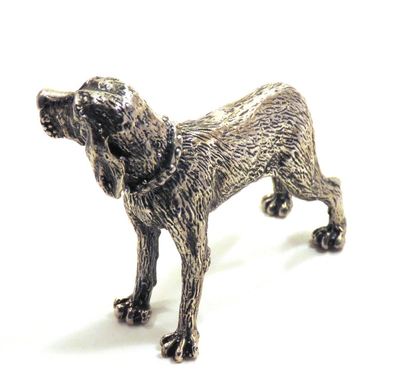 Solid Silver Italian Pointer Bracco Figurine Vintage, 1970s In Excellent Condition For Sale In Milano, IT