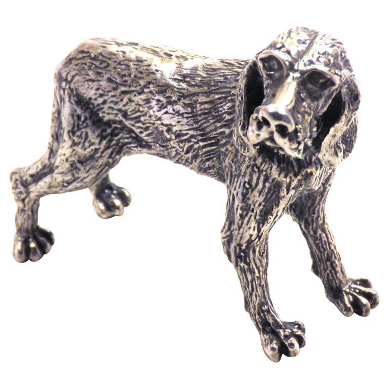 Solid Silver Italian Pointer Bracco Figurine Vintage, 1970s For Sale