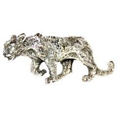 Solid Silver Leopard Figurine Vintage, 1970s