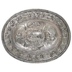 Solid Silver Oval Tray, Manuel Tene, Granada, Spain, 1755, with Hallmarks