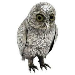 Solid Silver Owl Model Figure German, circa 1950 Bird