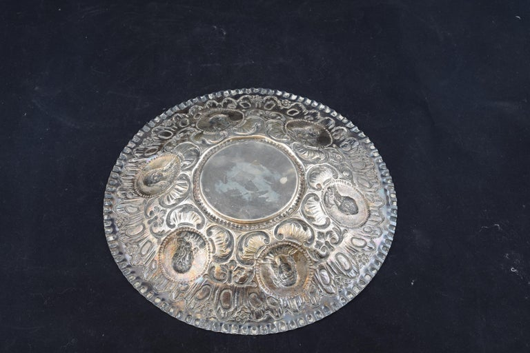 Spanish Solid Silver Tray, after 18th Century Models, 20th Century For Sale