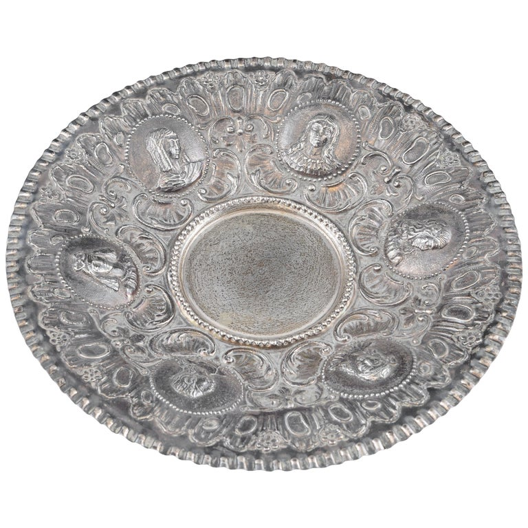 Solid Silver Tray, after 18th Century Models, 20th Century For Sale