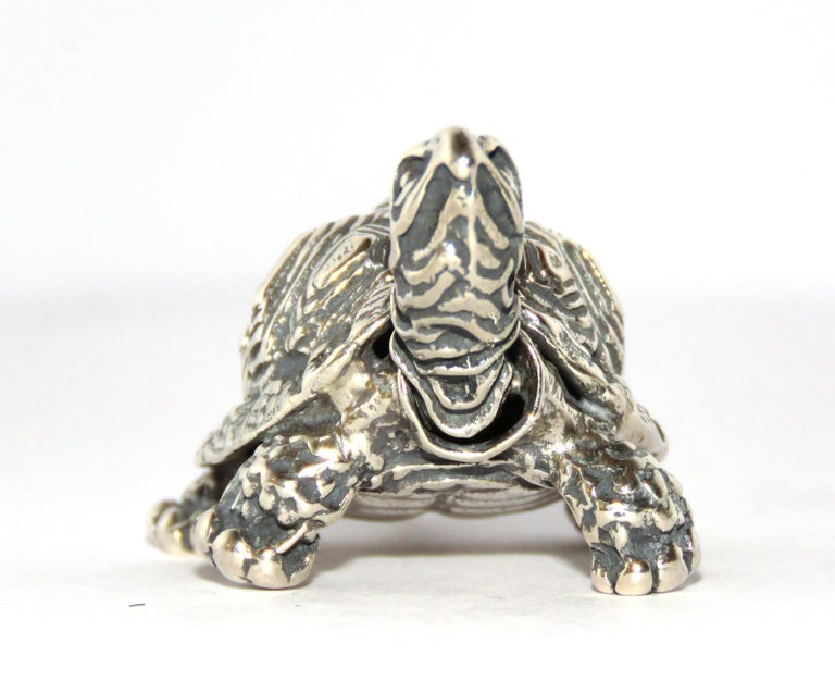 Solid Silver Turtle Figurine Vintage, 1970s In Excellent Condition In Milano, IT