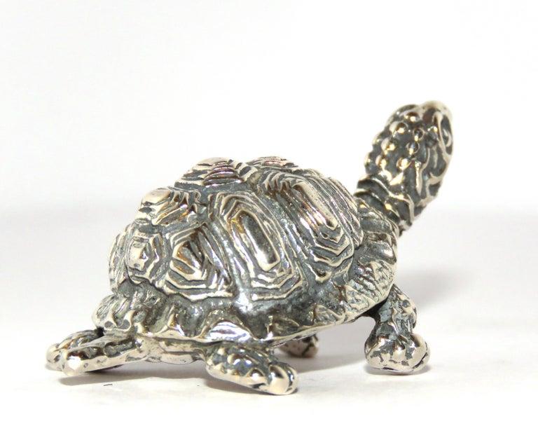 Women's or Men's Solid Silver Turtle Figurine Vintage, 1970s