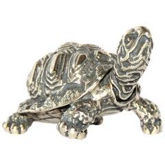 Solid Silver Turtle Figurine Vintage, 1970s