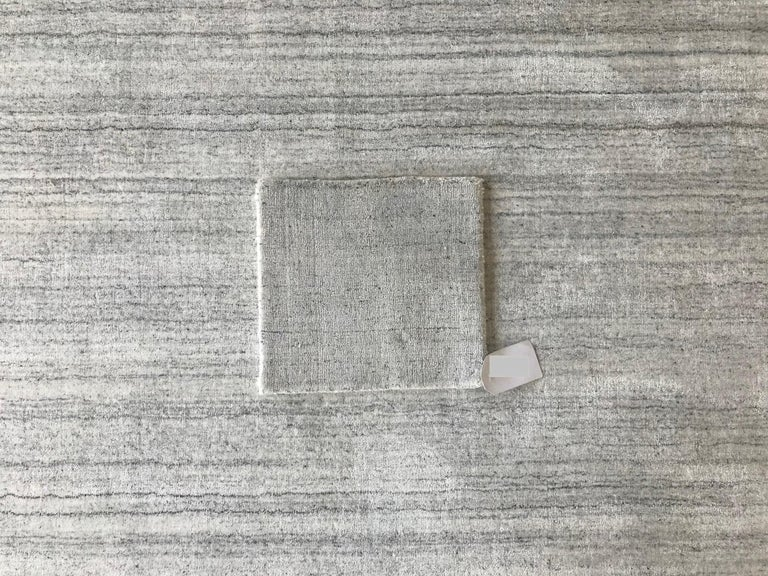 Industrial White and Silver Speckled Bamboo Silk Solid Hand-loomed Contemporary Tonal Rug  For Sale