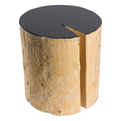 Solid Spruce Stool with Black Lacquered Top
