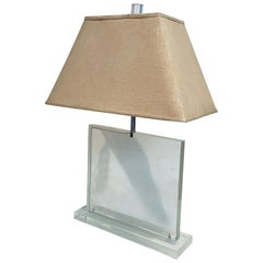 Solid Square Lucite Table / Desk Lamp