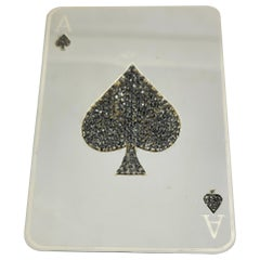 Solid Sterling Silver Ace of Spades Playing Card with Pave Black Diamonds