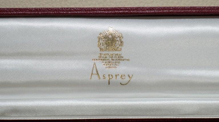 Georgian Solid Sterling Silver Asprey London 1995 Letter Opener in Original Velvet Box For Sale