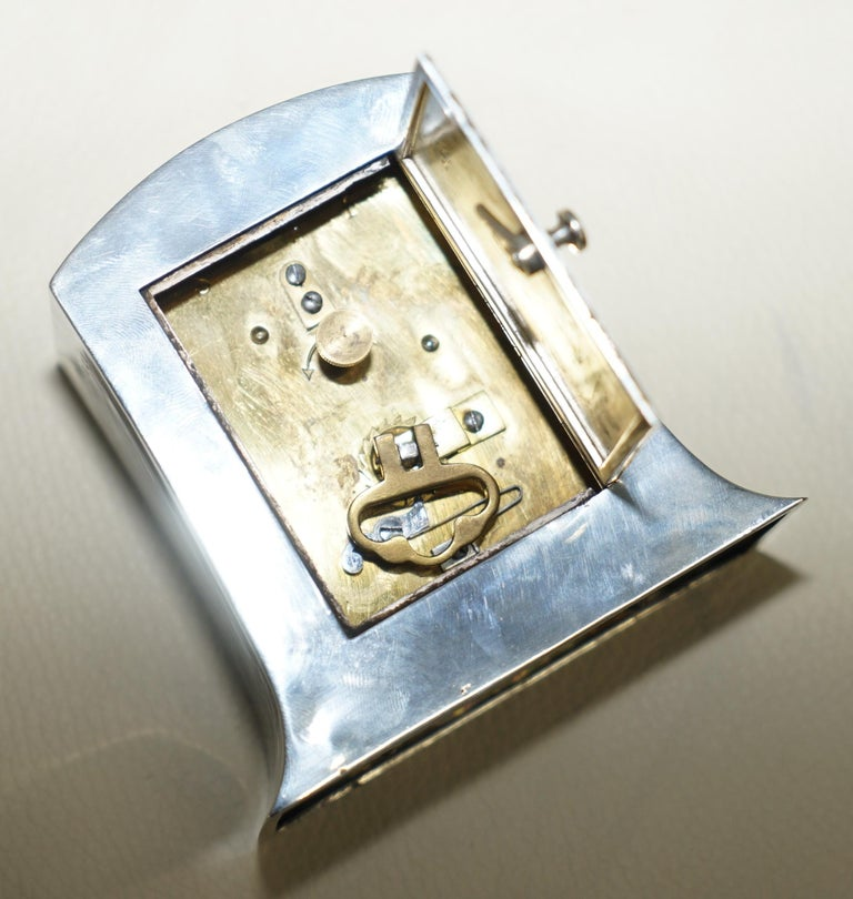 Solid Sterling Silver Liberty's London 1915 Miniature Carrage Clock Tudric Feel For Sale 3