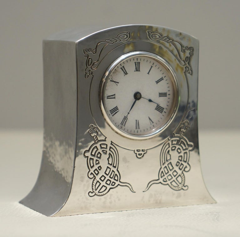 Art Deco Solid Sterling Silver Liberty's London 1915 Miniature Carrage Clock Tudric Feel For Sale