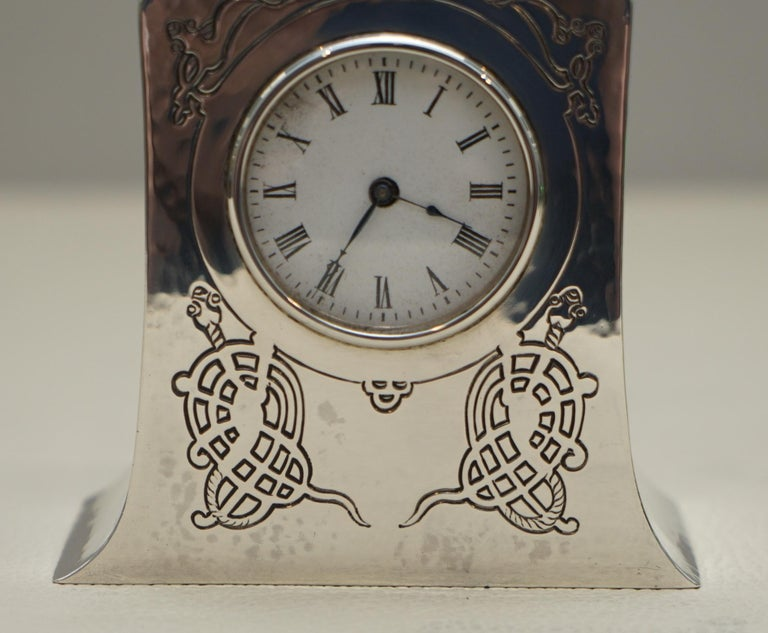 English Solid Sterling Silver Liberty's London 1915 Miniature Carrage Clock Tudric Feel For Sale